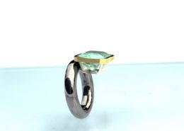 Silberring mit Gold und Beryll