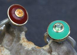 Ringe mit Karneol Granat und Chrysopras Turmalin