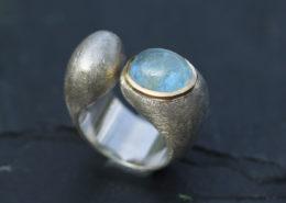 Silberring mit Gold und Aquamarin