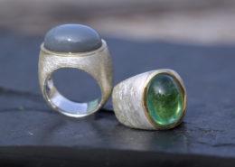 Silberringe mit Gold Mondstein und Turmalin